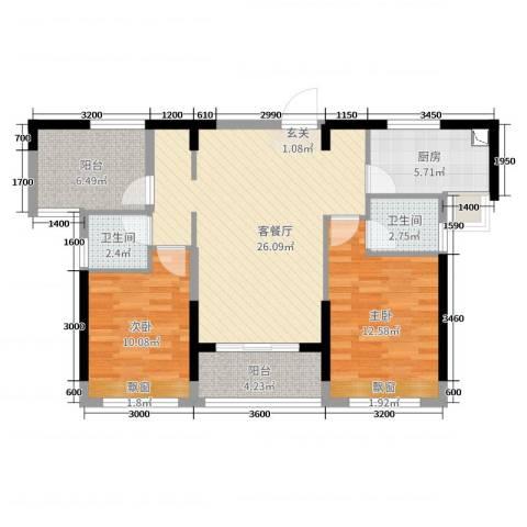 深基天海城市花园2室2厅2卫1厨87.00㎡户型图