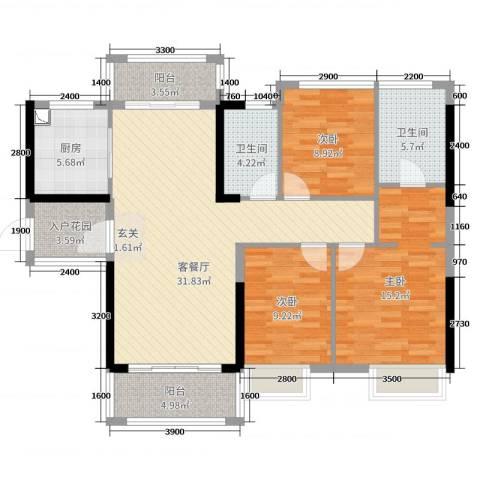 深基天海城市花园3室2厅2卫1厨117.00㎡户型图