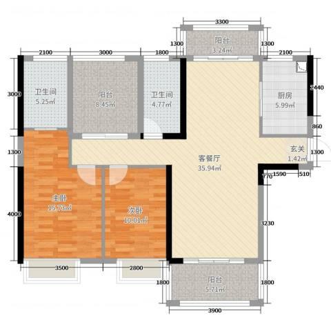 深基天海城市花园2室2厅2卫1厨121.00㎡户型图
