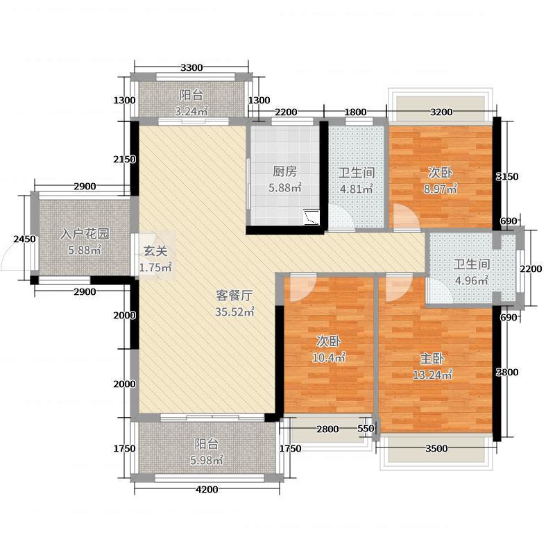 深基天海城市花园126.00㎡5栋01单元户型3室3厅2卫1厨
