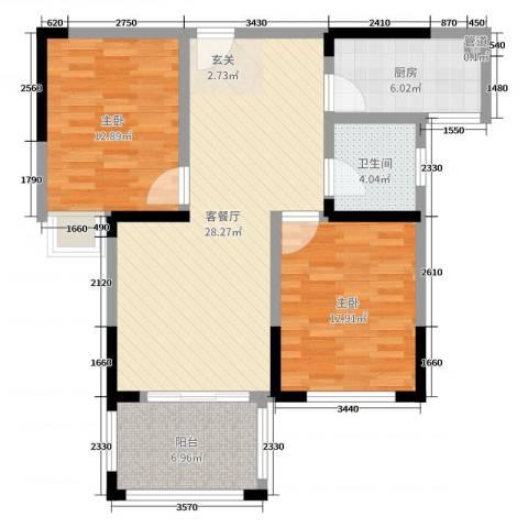 橡树城2室2厅1卫1厨89.00㎡户型图