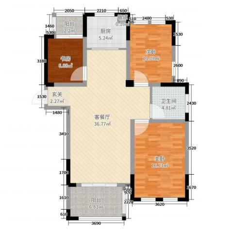 橡树城3室2厅1卫1厨113.00㎡户型图