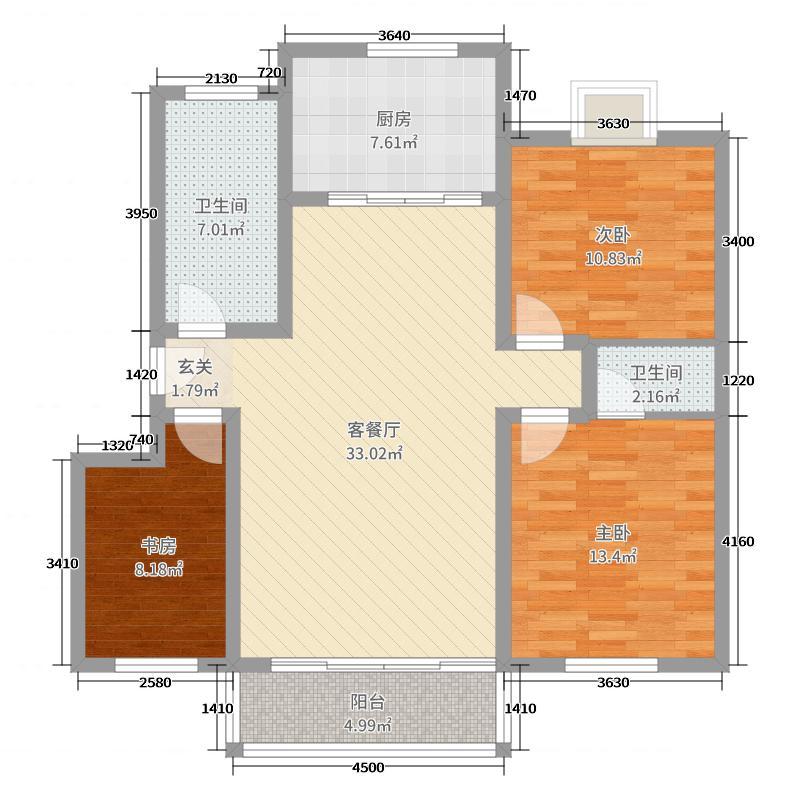 紫荆花苑109.07㎡C2户型3室3厅2卫1厨