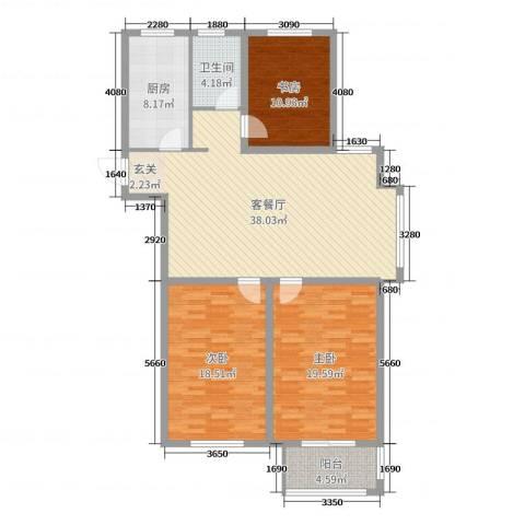 金色蓝庭3室2厅1卫1厨130.00㎡户型图