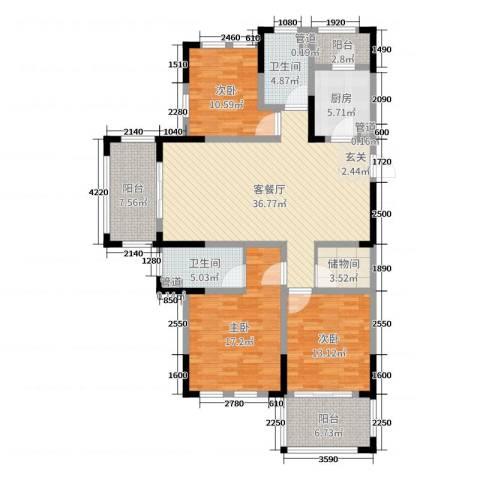 橡树城3室2厅2卫1厨143.00㎡户型图