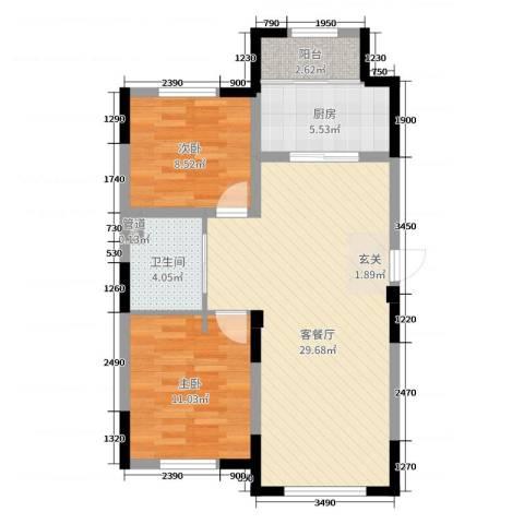 远创金泽锦城2室2厅1卫1厨89.00㎡户型图