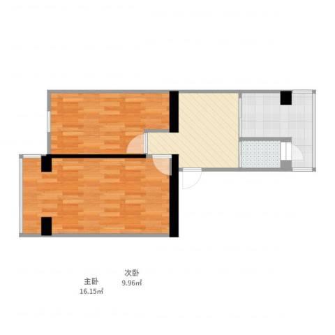 万源西里2室1厅1卫1厨58.00㎡户型图