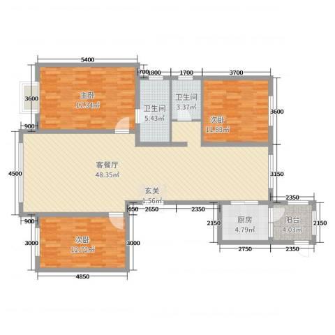 恒昌卢浮公馆3室2厅2卫1厨155.00㎡户型图