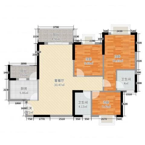 映翠豪庭3室2厅2卫1厨110.00㎡户型图