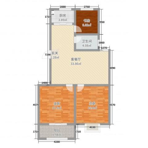 景泰铭城3室2厅1卫1厨111.00㎡户型图