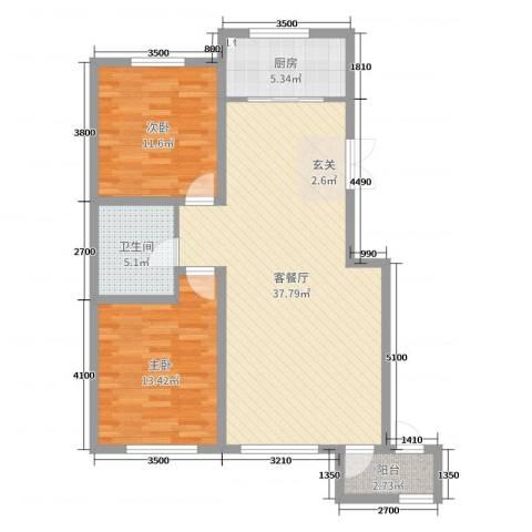 亨林名都2室2厅1卫1厨112.00㎡户型图