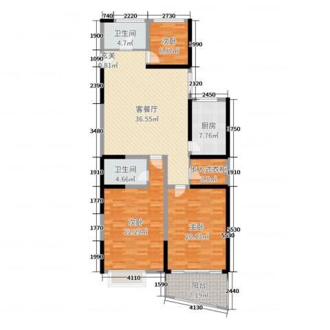 金满华府3室2厅2卫1厨142.00㎡户型图