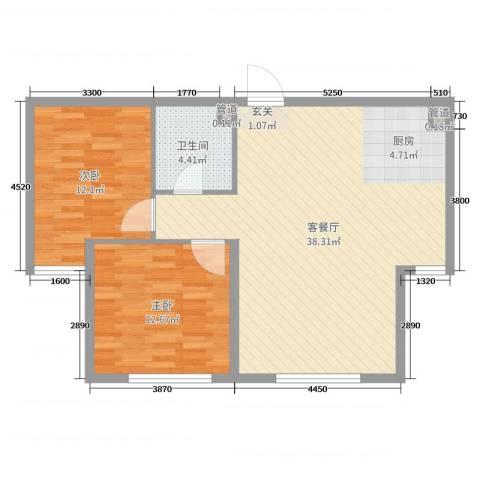康城2室2厅1卫0厨85.00㎡户型图