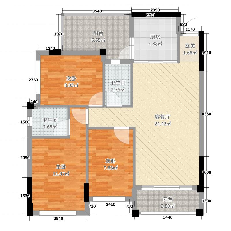 御景花园90.00㎡A2户型3室3厅2卫1厨