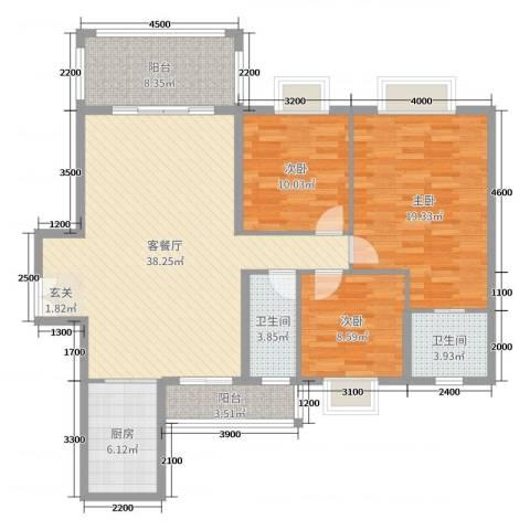 佛奥阳光花园3室2厅2卫1厨130.00㎡户型图