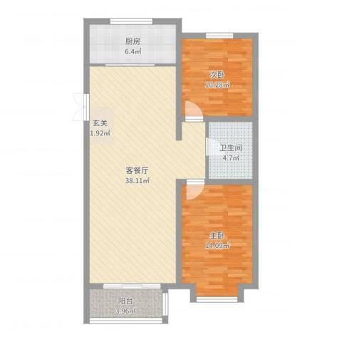 世家官邸2室2厅1卫1厨97.00㎡户型图