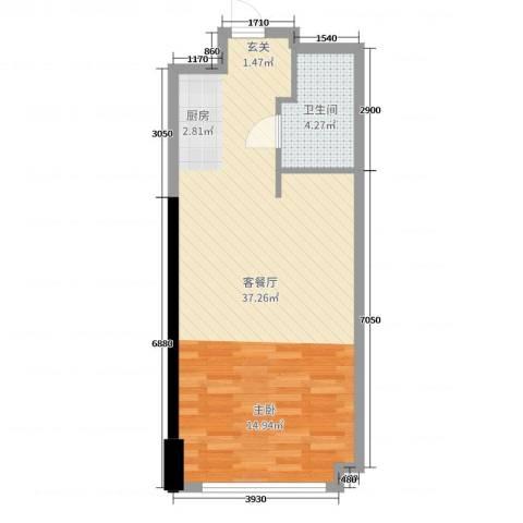 南海星汇云锦2厅1卫0厨52.00㎡户型图