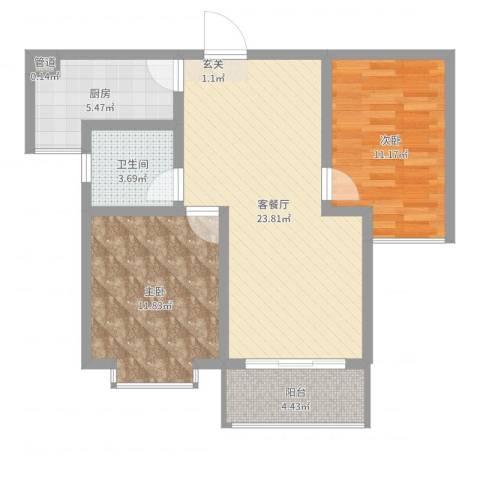 中央豪庭2室2厅1卫1厨76.00㎡户型图