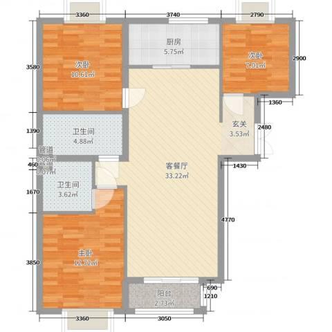 新天地二期・壹号院3室2厅2卫1厨120.00㎡户型图