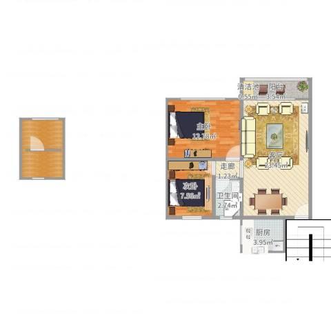 翡翠山庄2室1厅1卫1厨62.33㎡户型图