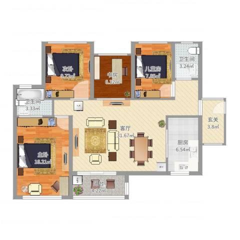 东明花园4室1厅2卫1厨116.00㎡户型图