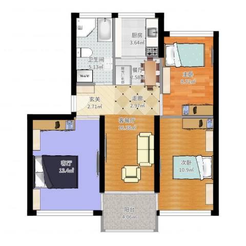 鸿旺阳光小区2室2厅1卫1厨78.00㎡户型图