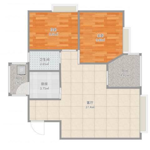 美心翡翠明庭2室1厅1卫1厨74.00㎡户型图