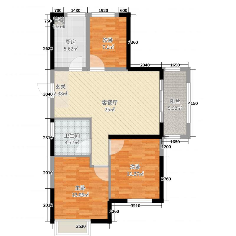金科财富商业广场89.68㎡B1-1户型3室3厅1卫1厨