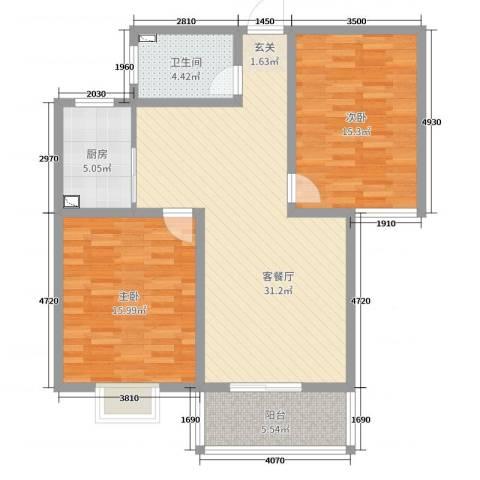 宿迁盛世嘉园2室2厅1卫1厨97.00㎡户型图