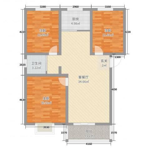 宿迁盛世嘉园3室2厅1卫1厨110.00㎡户型图