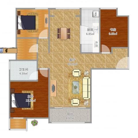 高科绿水东城2室1厅1卫1厨115.00㎡户型图
