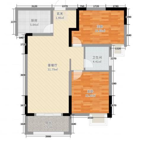 天明城2室2厅1卫1厨90.00㎡户型图