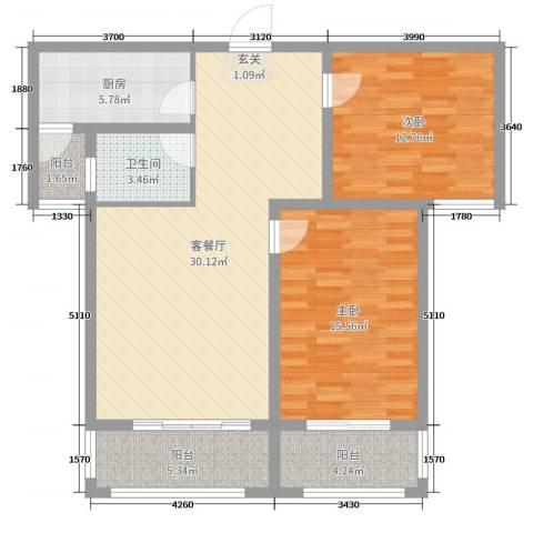 世纪公馆2室2厅1卫1厨99.00㎡户型图