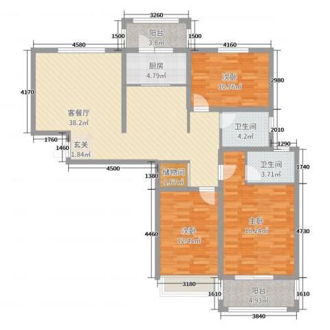 世纪公馆3室2厅2卫1厨128.00㎡户型图