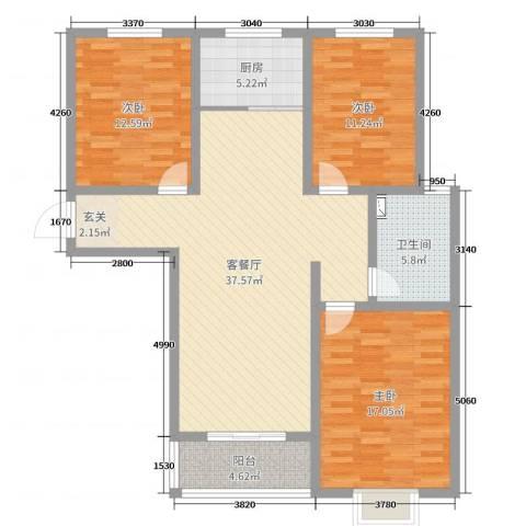 宿迁盛世嘉园3室2厅1卫1厨118.00㎡户型图