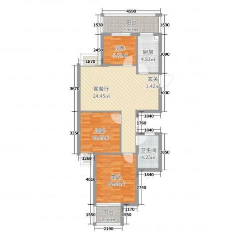 新时代城市家园3室2厅1卫1厨87.00㎡户型图
