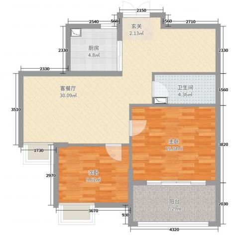 新时代城市家园2室2厅1卫1厨89.00㎡户型图