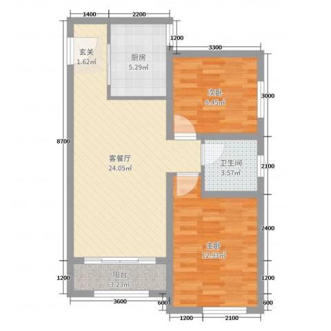 香榭水岸2室2厅1卫1厨71.00㎡户型图