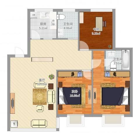 九峰小区长江新花园2室1厅2卫1厨81.88㎡户型图