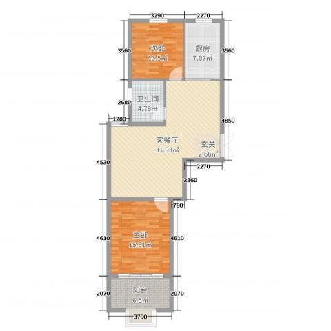 浪琴湾2室2厅1卫1厨95.00㎡户型图