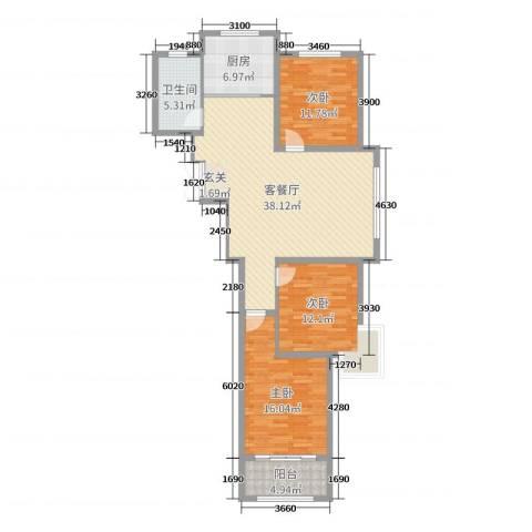 浪琴湾3室2厅1卫1厨119.00㎡户型图