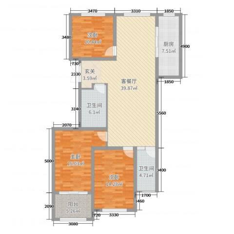 浪琴湾3室2厅2卫1厨130.00㎡户型图