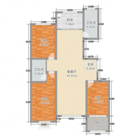 浪琴湾3室2厅2卫1厨144.00㎡户型图