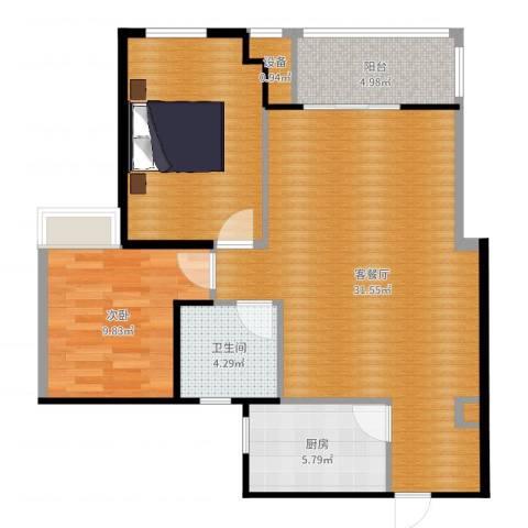 滨江怡畅园1室2厅1卫1厨88.00㎡户型图