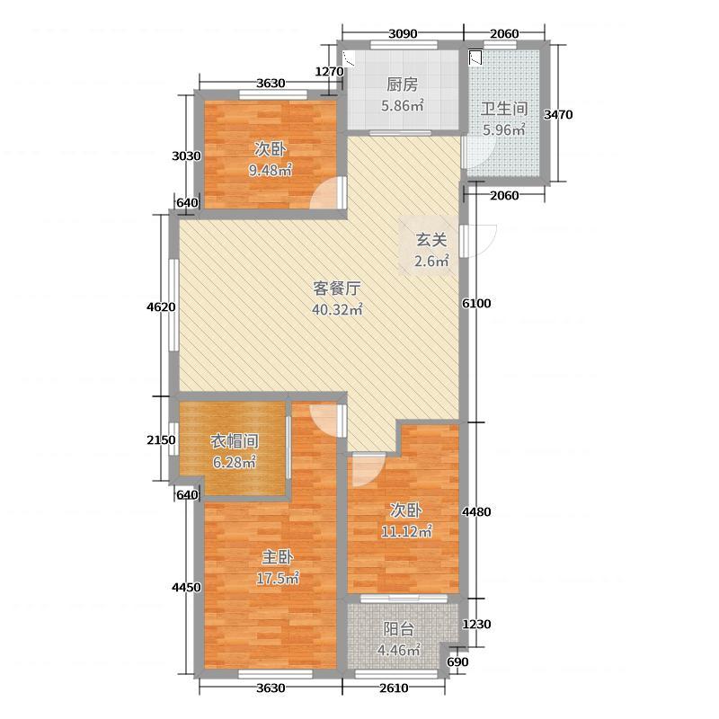 西苑华府127.61㎡二期高层A户型3室3厅1卫1厨