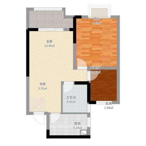 旭辉悦庭2室2厅1卫1厨67.00㎡户型图
