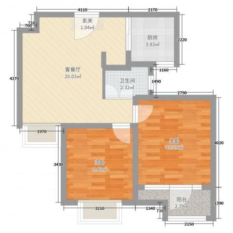 荣盛香缇澜山二期2室2厅1卫1厨63.00㎡户型图