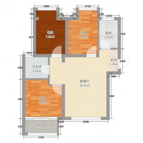 荣盛香缇澜山二期3室2厅1卫1厨66.00㎡户型图