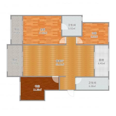 万科麓山(万科天泰金域国际二期)3室2厅2卫1厨132.00㎡户型图