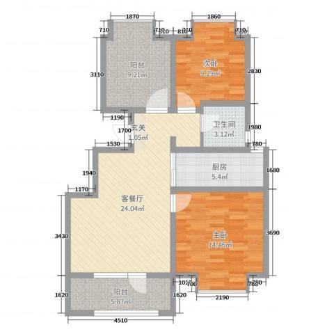 荣盛香缇澜山二期2室2厅1卫1厨89.00㎡户型图
